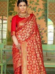 Art Silk Traditional Designer Saree in Red