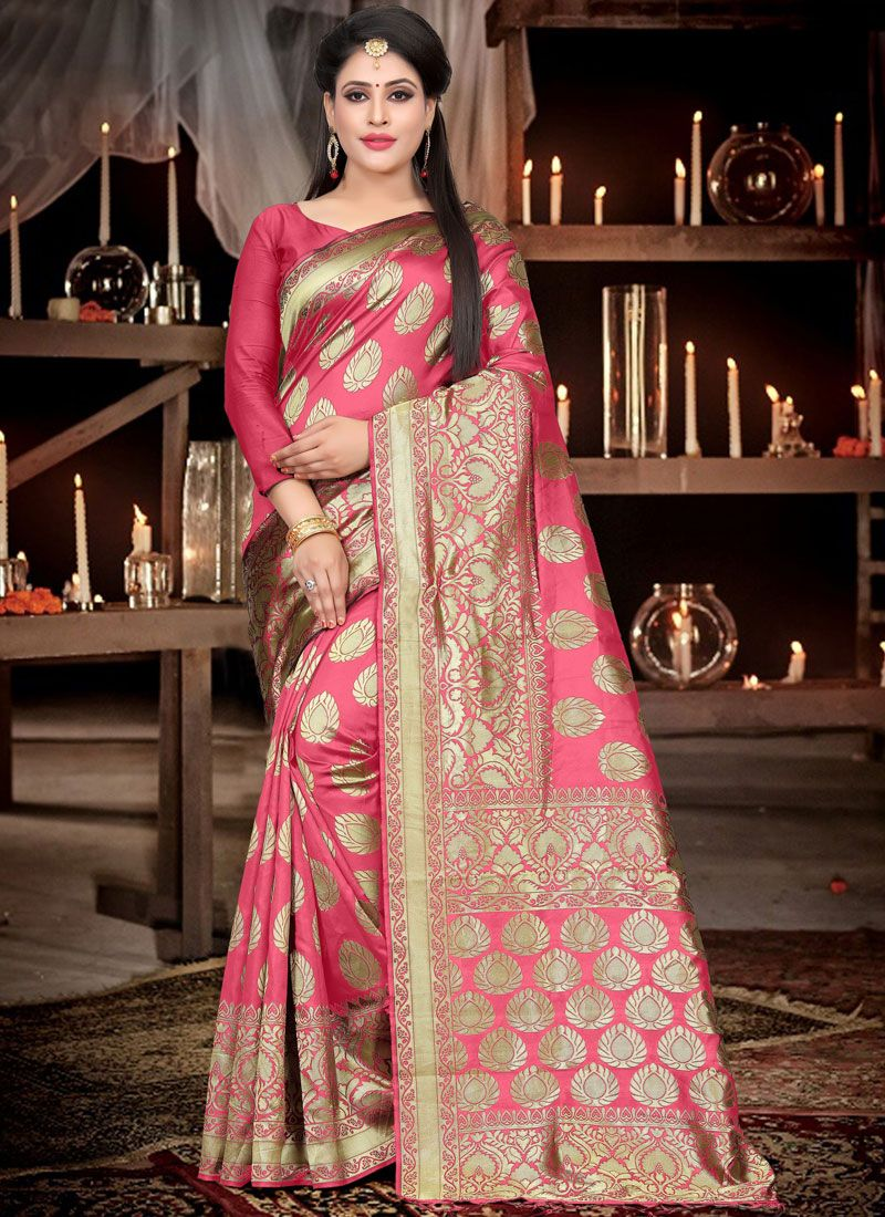 Art Silk Traditional Designer Saree in Rose Pink