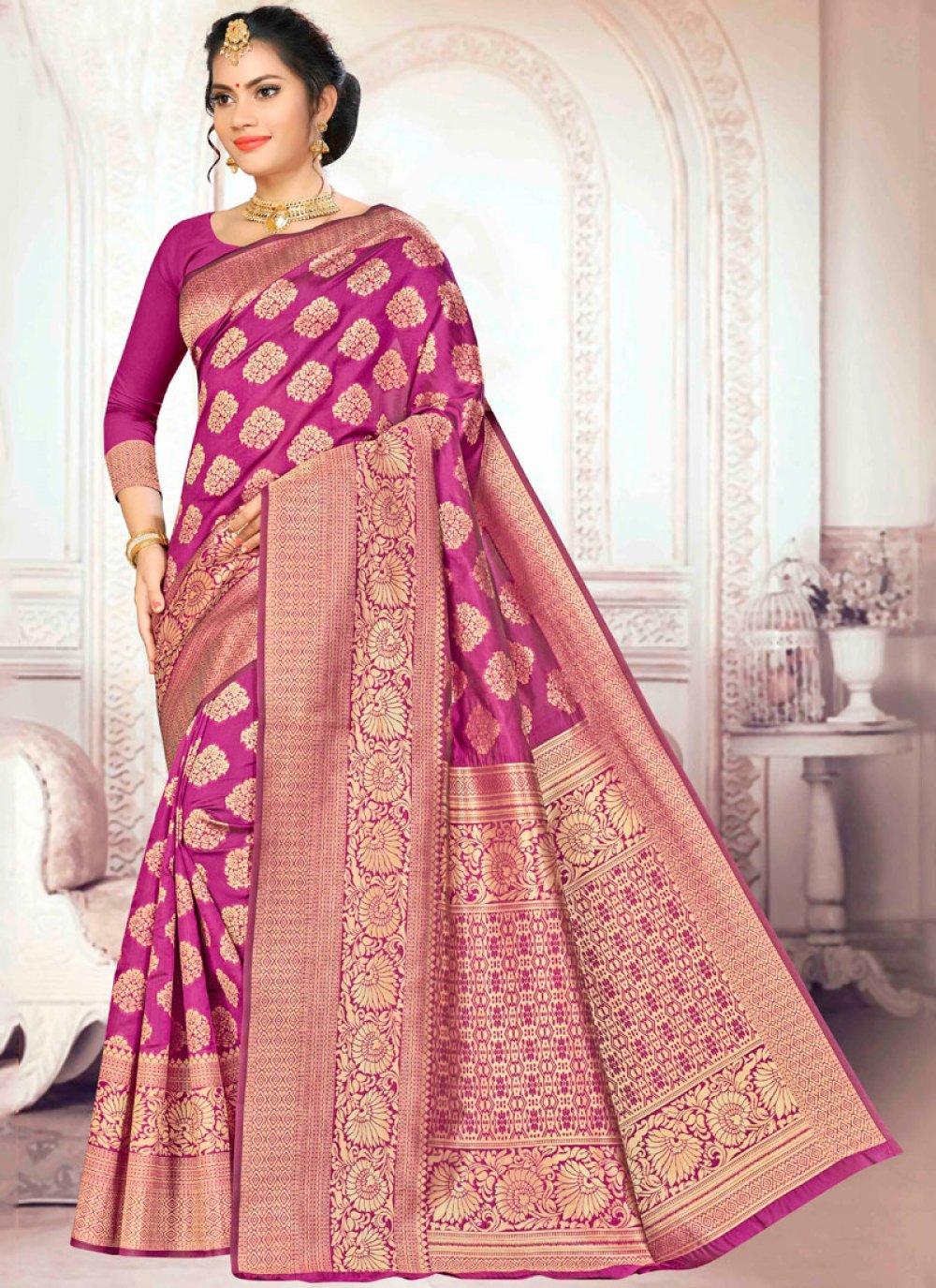 Art Silk Traditional Designer Saree in Wine