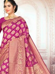 Art Silk Traditional Designer Saree in Wine