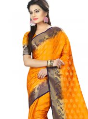 Art Silk Traditional Designer Saree in Yellow