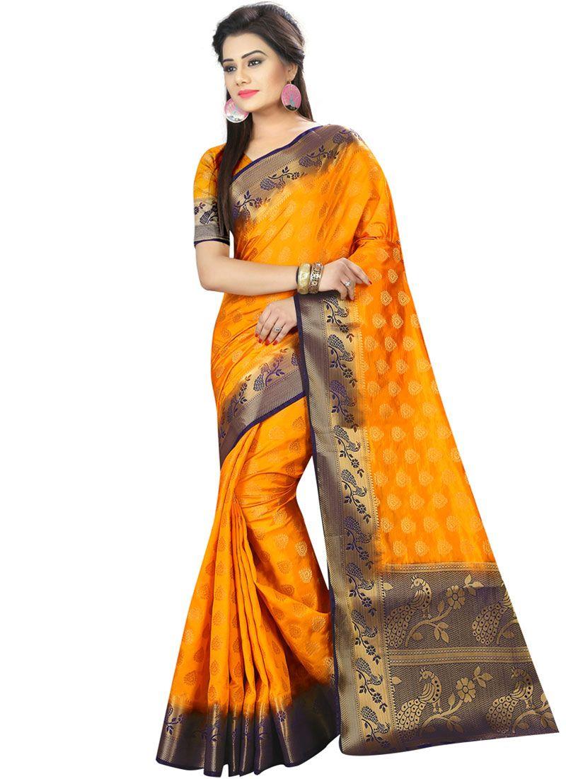Art Silk Traditional Designer Saree in Yellow