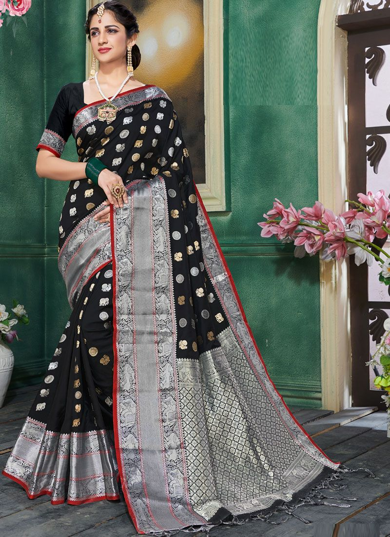 Art Silk Traditional Saree in Black