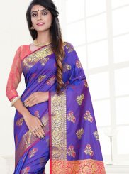 Art Silk Traditional Saree in Purple