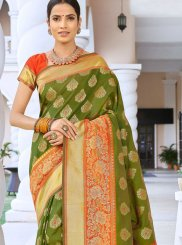Art Silk Traditional Saree in Green
