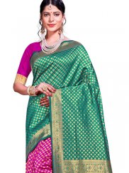 Art Silk Traditional Saree in Green and Hot Pink