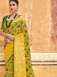 Art Silk Traditional Saree in Green and Yellow