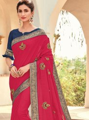 Art Silk Traditional Saree in Hot Pink