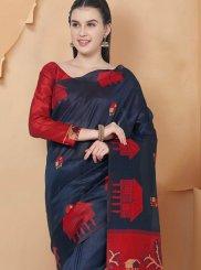 Art Silk Traditional Saree in Navy Blue