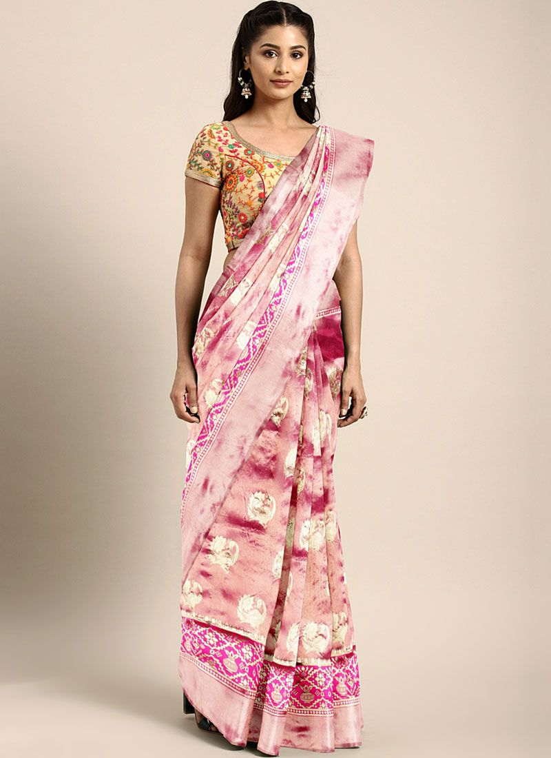Art Silk Traditional Saree in Pink