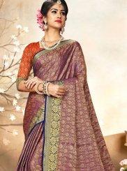 Art Silk Traditional Saree in Purple