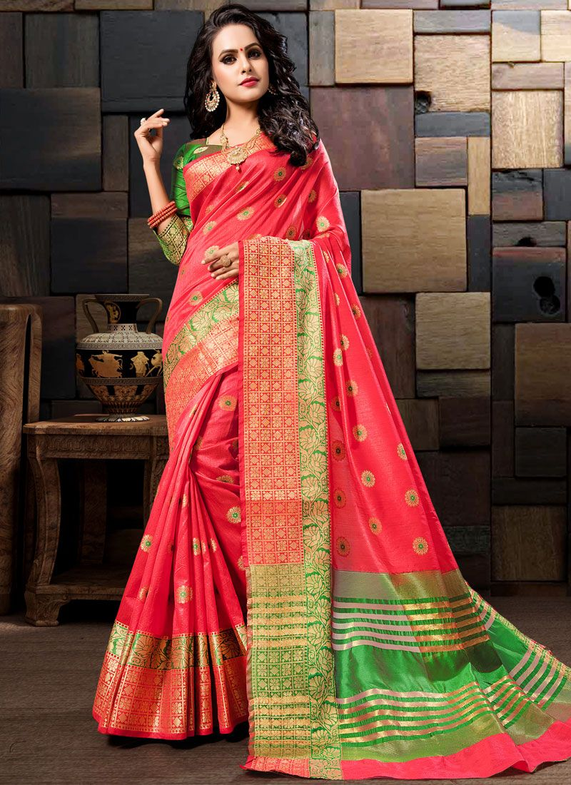 Art Silk Traditional Saree in Rose Pink