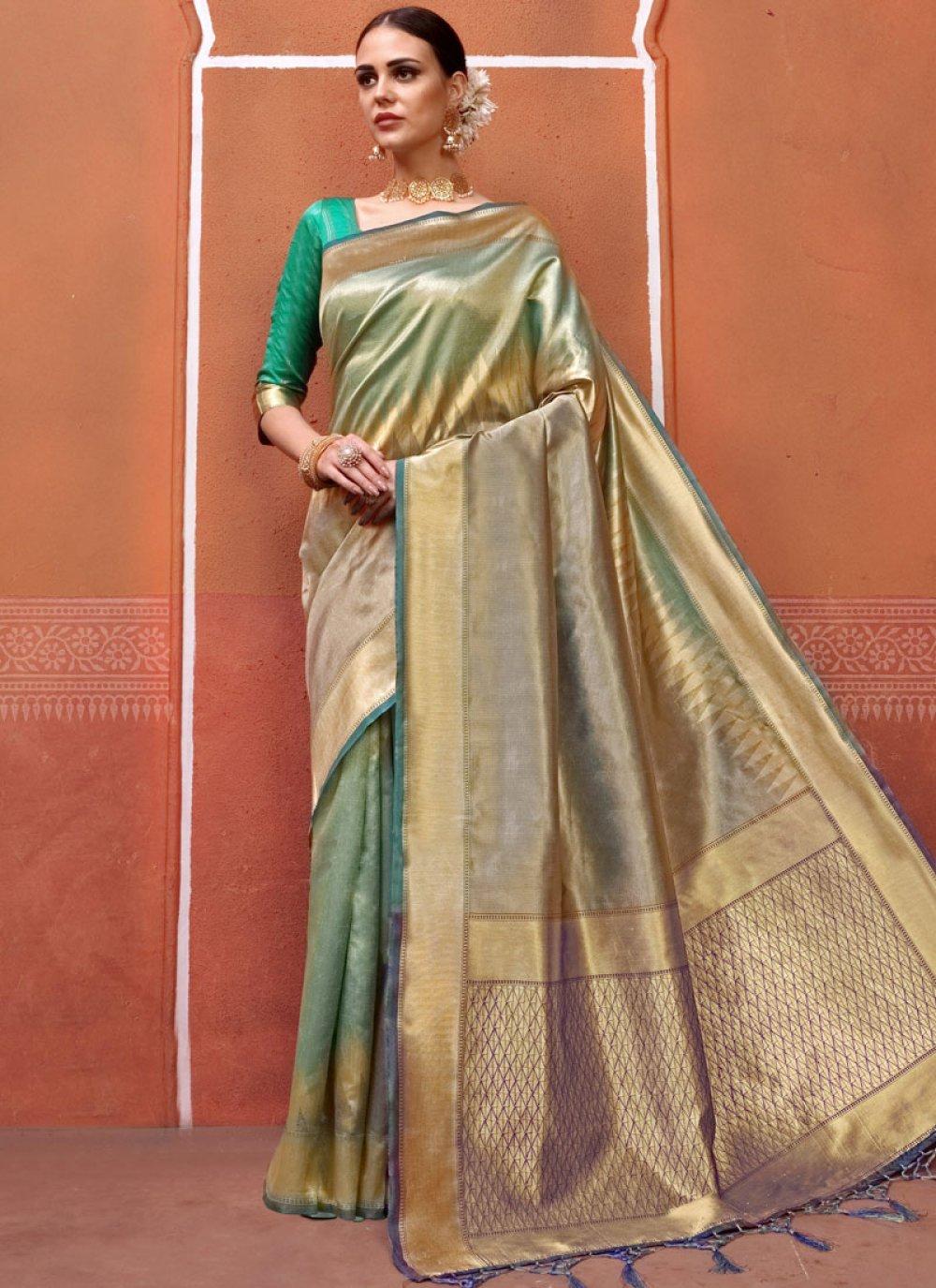 Art Silk Traditional Saree in Sea Green