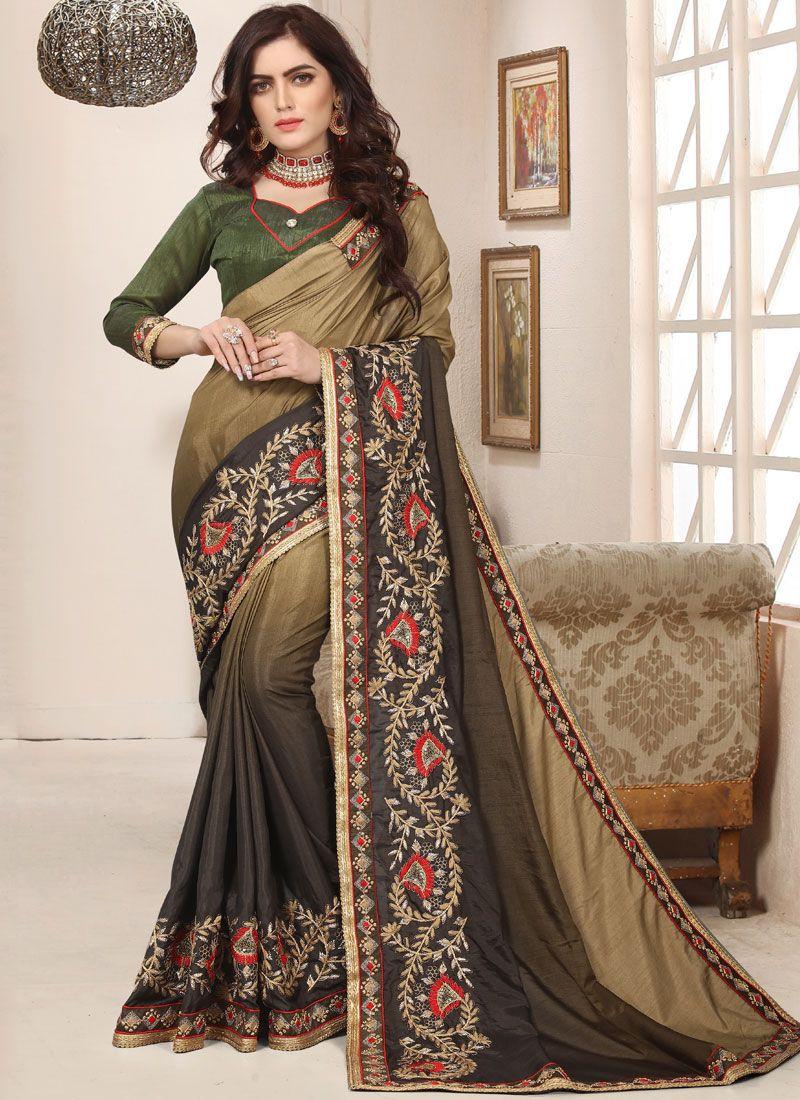 Art Silk Trendy Saree in Green