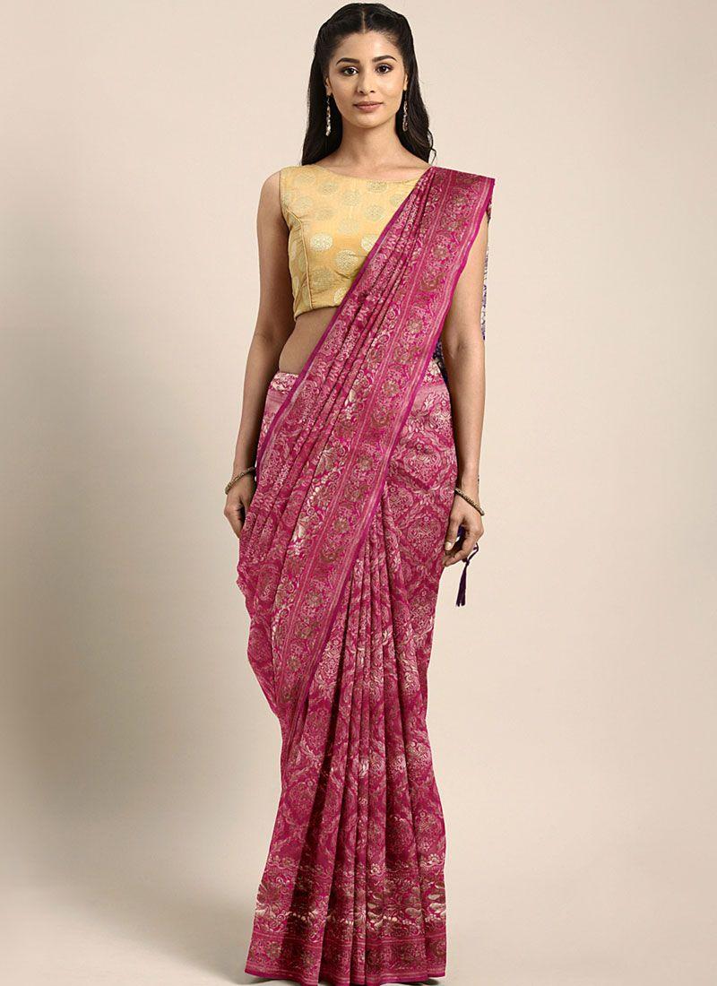 Art Silk Trendy Saree in Pink