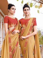 Art Silk Trendy Saree in Yellow
