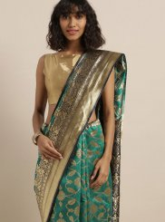 Art Silk Turquoise Classic Saree
