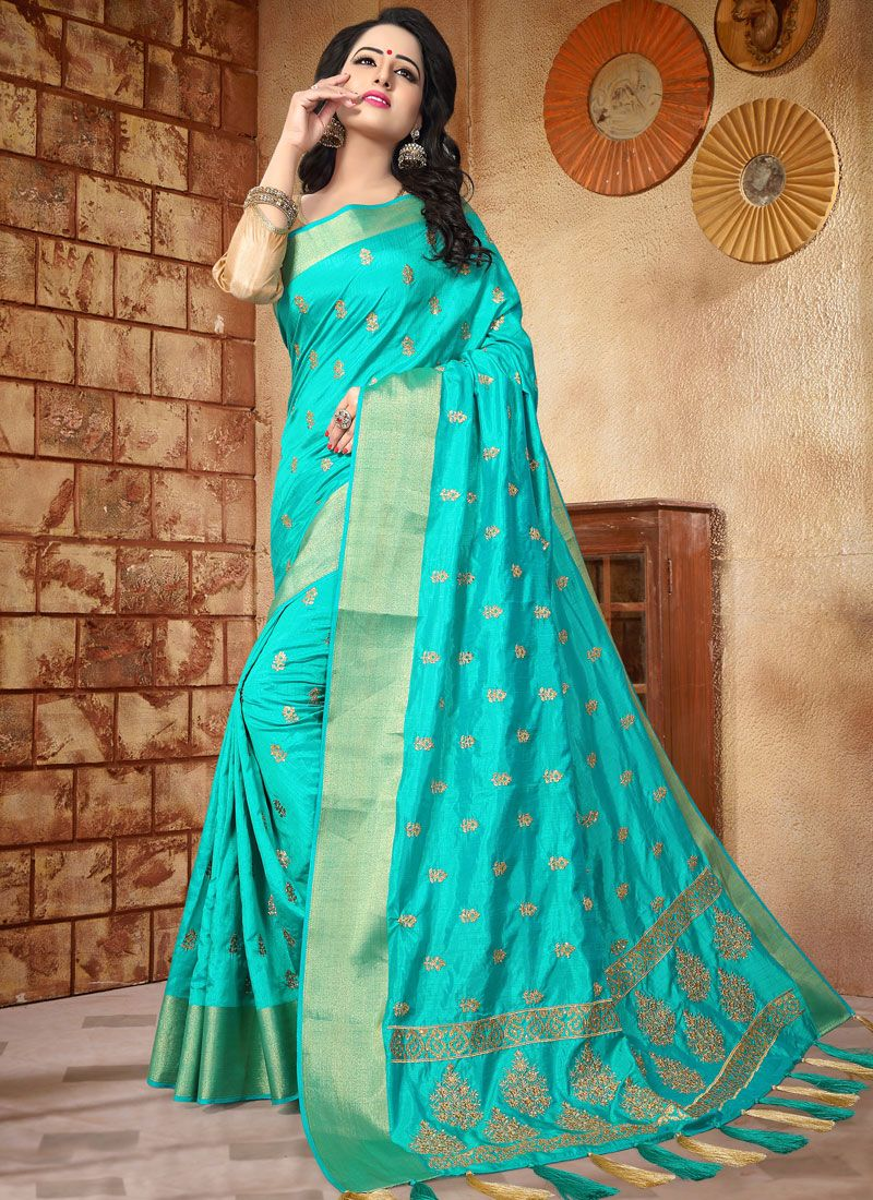 Art Silk Turquoise Patch Border Work Traditional  Saree