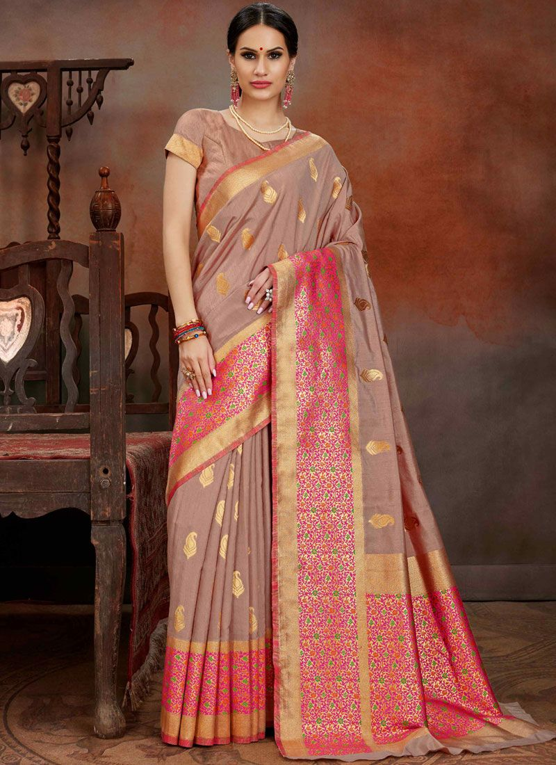 Art Silk Weaving Beige Designer Traditional Saree