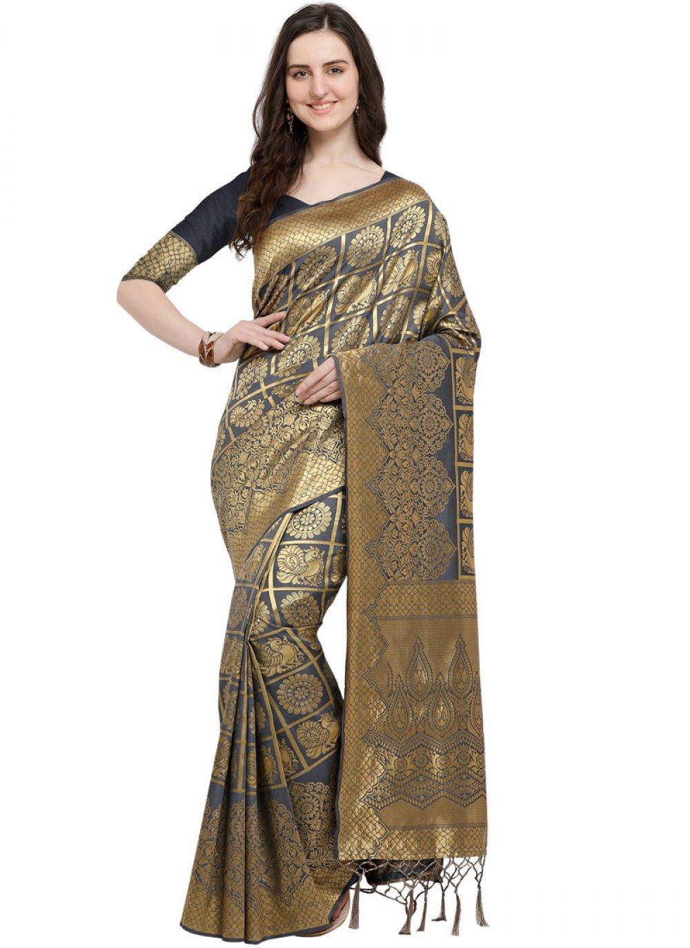 Art Silk Weaving Black Designer Traditional Saree