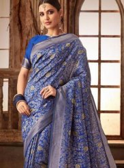 Art Silk Weaving Blue Traditional Saree