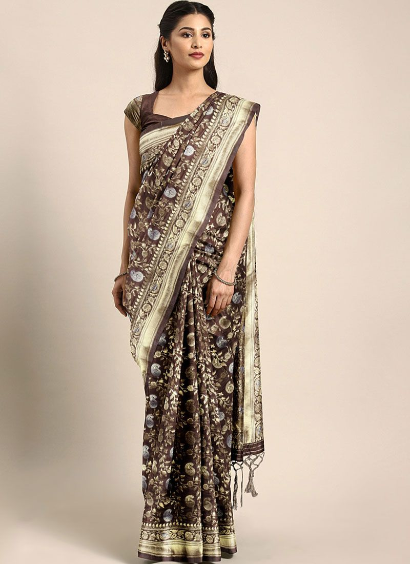 Art Silk Weaving Brown Traditional Saree
