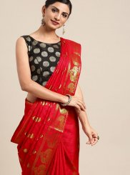 Art Silk Weaving Classic Designer Saree in Red