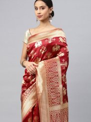 Art Silk Weaving Classic Saree in Red