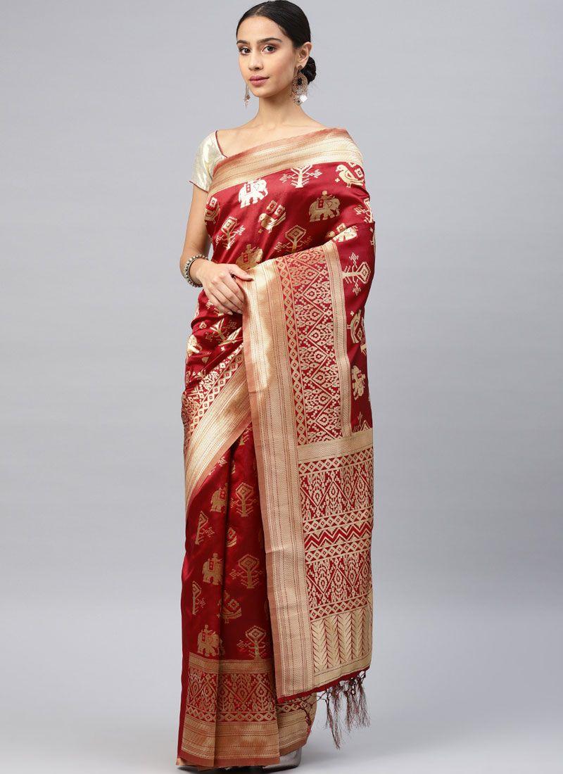 Art Silk Weaving Classic Saree in Red