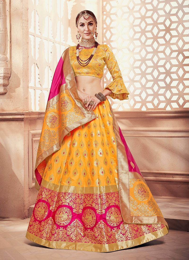 Art Silk Weaving Designer Lehenga Choli in Yellow