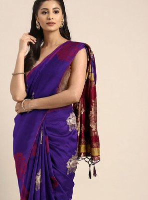 Art Silk Weaving Designer Traditional Saree in Blue