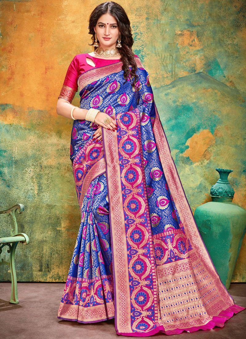 Art Silk Weaving Designer Traditional Saree in Blue