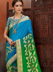 Art Silk Weaving Designer Traditional Saree in Blue and Green