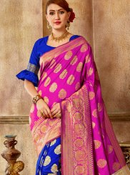 Art Silk Weaving Designer Traditional Saree in Blue and Pink