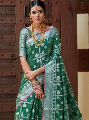 Art Silk Weaving Designer Traditional Saree in Green