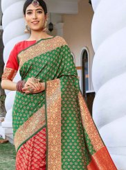 Art Silk Weaving Designer Traditional Saree in Green and Red