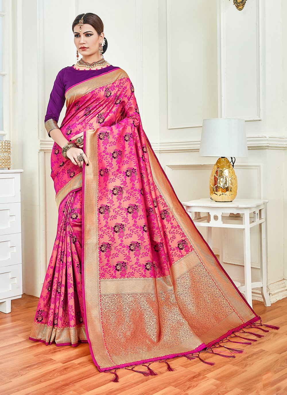 Art Silk Weaving Designer Traditional Saree in Hot Pink