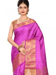 Art Silk Weaving Designer Traditional Saree in Pink