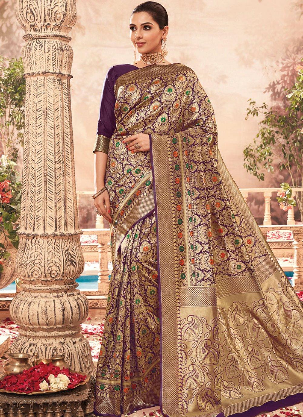 Art Silk Weaving Designer Traditional Saree in Purple