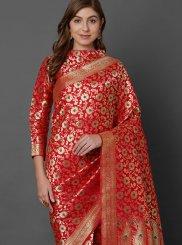 Art Silk Weaving Designer Traditional Saree in Red