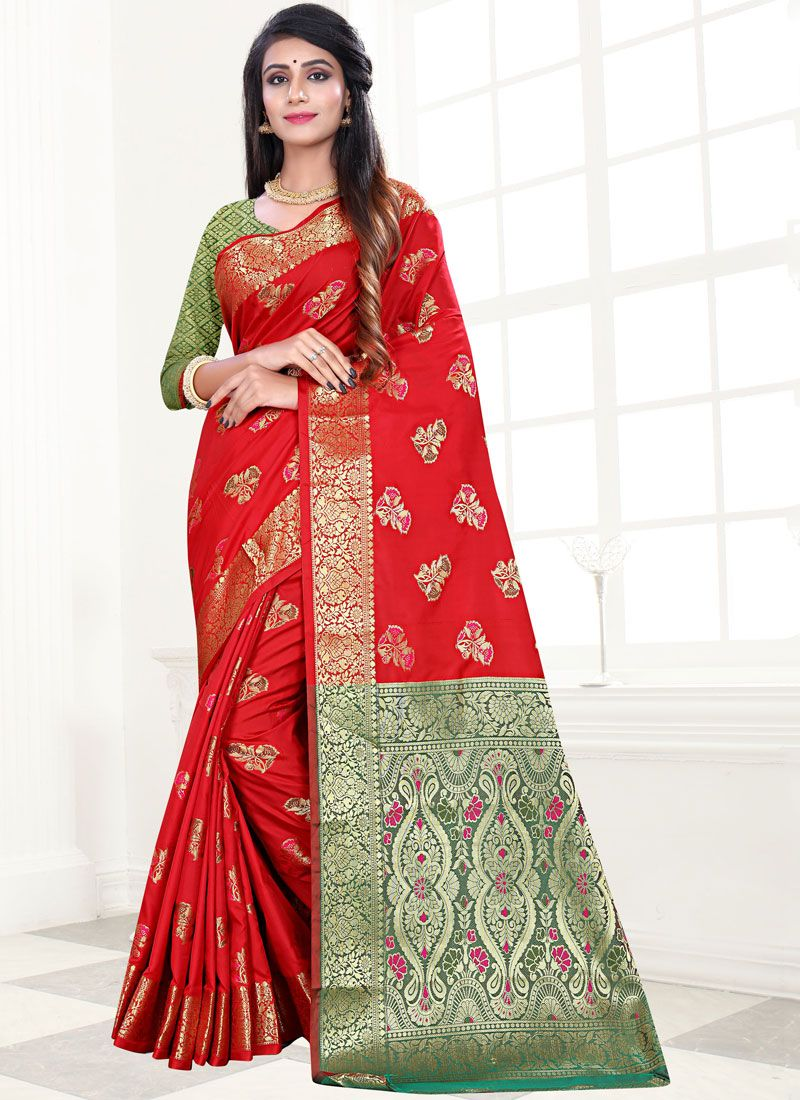 Art Silk Weaving Designer Traditional Saree in Red
