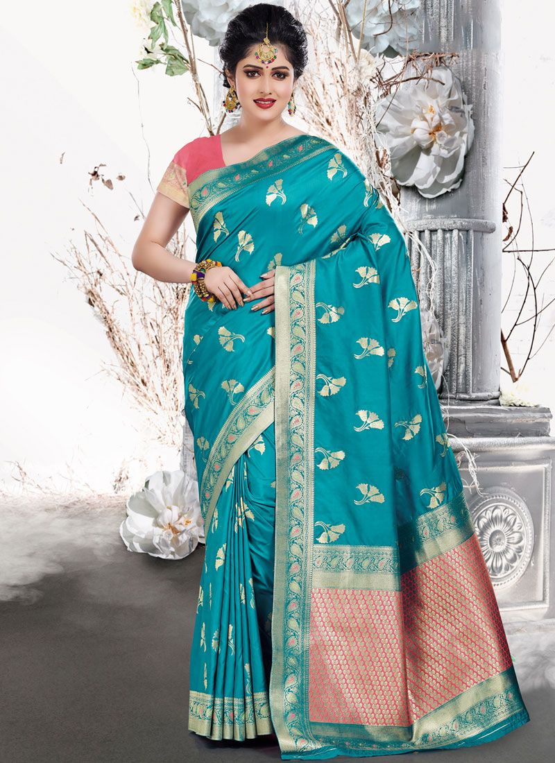 Art Silk Weaving Designer Traditional Saree in Teal