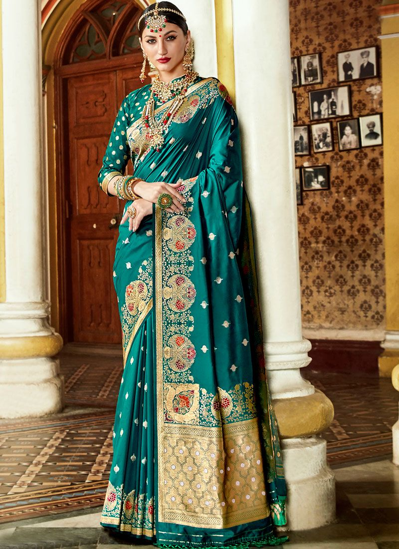 Art Silk Weaving Designer Traditional Saree in Turquoise