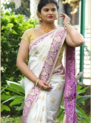 Art Silk Weaving Designer Traditional Saree in White