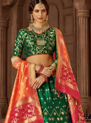 Art Silk Weaving Green Lehenga Choli
