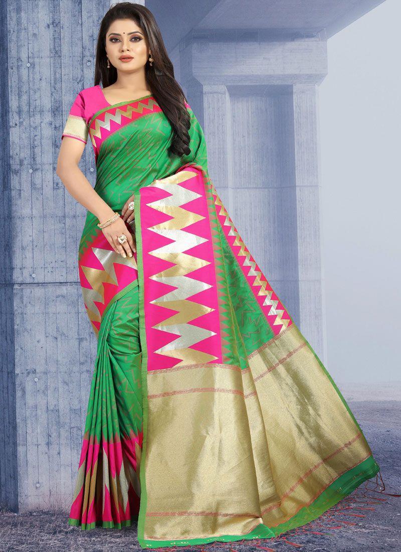 Art Silk Weaving Green Traditional Designer Saree