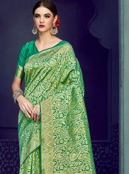 Art Silk Weaving Green Traditional Saree