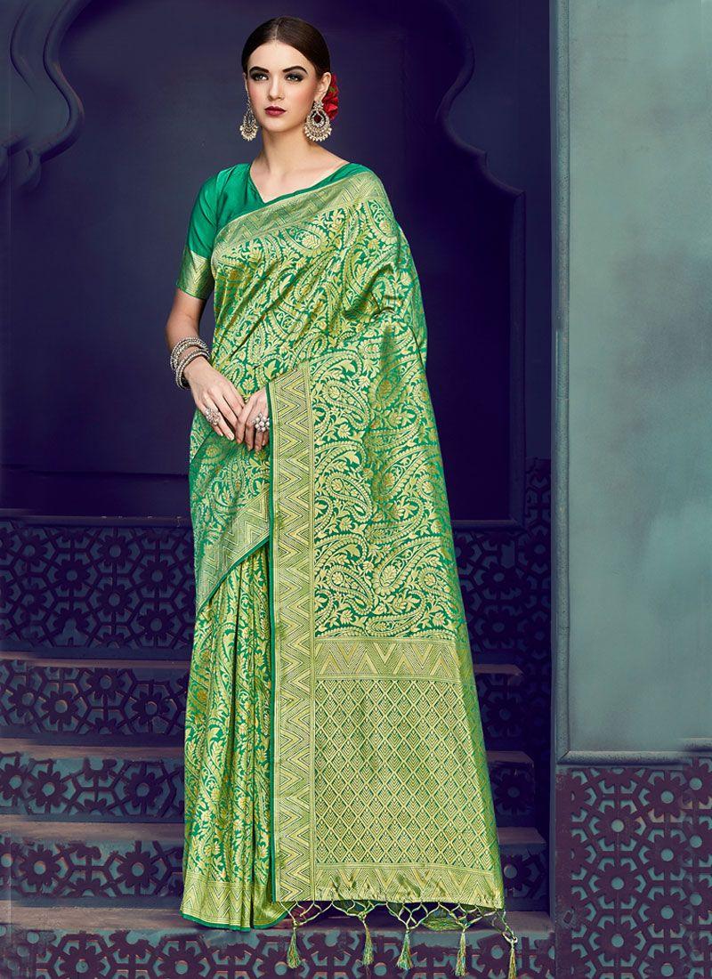Art Silk Weaving Green Traditional Saree