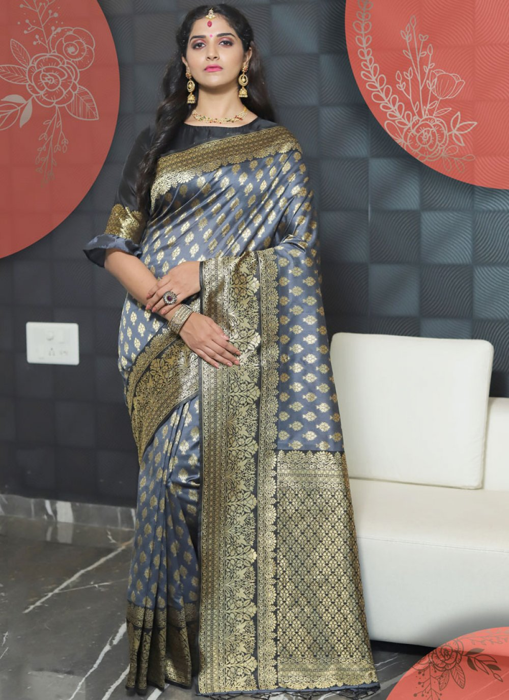 Art Silk Weaving Grey Designer Traditional Saree