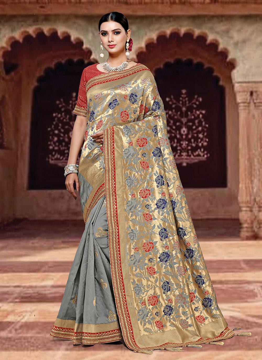 Art Silk Weaving Grey Designer Traditional Saree